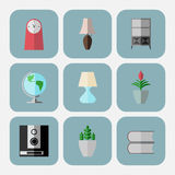 Set of 9 interior icons in flat style, . Icons are layered Stock Photography