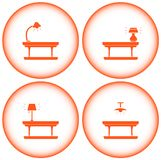 Set interior icons with table lamp Royalty Free Stock Image