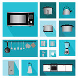 Set of Interior kitchen with kitchen shelves and cooking utensil Stock Images