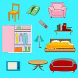 Set Of interior  stuff Royalty Free Stock Photo