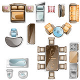 Set of interior top view. Isolated Vector Illustration. Furniture and elements for living room, bedroom, kitchen, bathroom Stock Image