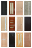 Set of 12 interior wooden doors Royalty Free Stock Photos
