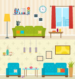 Set of Interiors of Living Rooms. Decoration of Modern Apartments Stock Photos