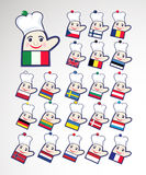 Set of international chefs icons. Set of international multicolored chefs icons, mitten shape Stock Images