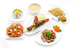 Set of international dishes arranged for catering Stock Photo