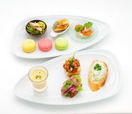 Set of international dishes arranged for catering Stock Photos