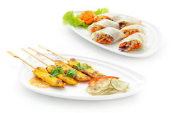 Set of international dishes arranged for catering Royalty Free Stock Photo