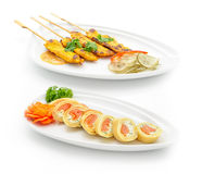 Set of international dishes arranged for catering Royalty Free Stock Image