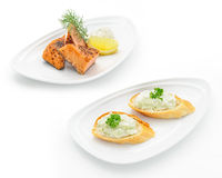 Set of international dishes arranged for catering Royalty Free Stock Images