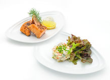 Set of international dishes arranged for catering Stock Image