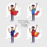 Set of the international fans of national football teams. Characters with flag. Flat line style design. Royalty Free Stock Image