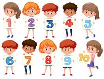A set of international kids holding number. Illustration Stock Illustration