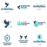 Set of International Peace Day logos or emblems. 21 September. Vector illustration. royalty free illustration