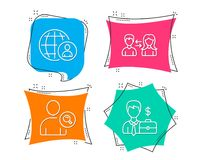 International recruitment, Find user and People communication icons. Businessman case sign. Set of International recruitment, Find user and People communication Royalty Free Stock Images