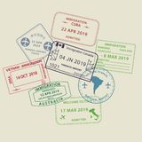 Set of Visa passport stamps to different countries. Set of International travel visas passport stamp icons for entering to Australia, Thailand, Brazil, Canada stock illustration