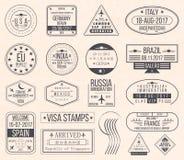 Set of international visa stamps. Vintage travel visa passport stamps royalty free illustration