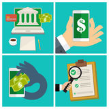 Set of Internet banking concept Royalty Free Stock Image