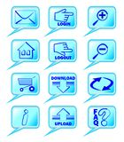 A set of internet icons in blue design Stock Images