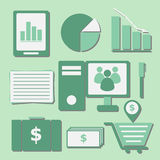 Set of internet investor at home color icons Stock Image