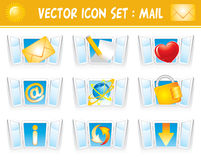 Set internet mail icons Stock Photo
