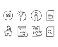 Internet report, Idea and Parcel checklist icons. Comments, Update data and Search files signs. Set of Internet report, Idea and Parcel checklist icons Royalty Free Stock Image