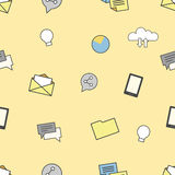 Set of internet and technologies icons. Seamless pattern background Royalty Free Stock Photography