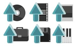Set of Internet Media Uploading Storage Icons. Vector illustration: Various design of uploading icons consisting of compact disc, film strip, photograph Stock Photo