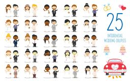 Set of 25 interracial wedding couples and nuptial icons in cartoon style. Vector Illustration. Kids Wedding Collection royalty free illustration
