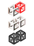 Set of intersected wireframe cubes Royalty Free Stock Photos