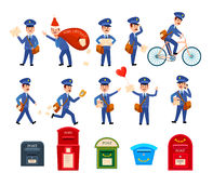 Set of Intersting Icons with Postman Characters Stock Images