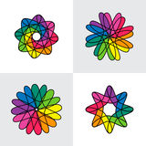 Set intertwined colorful vector, abstract loop weaved medieval m Stock Images