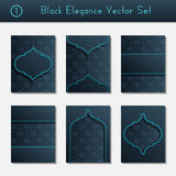 Set of intricate black brochure designs Royalty Free Stock Images