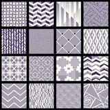 Set of intricate lined patterns. 16 elegant seamless blue and white patterns with designs made of small lines. Graphics are grouped and in several layers for royalty free illustration