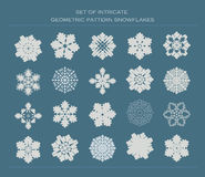 Set of intricate pattern snowflakes Royalty Free Stock Image