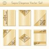 Set of intricate sepia brochure designs Royalty Free Stock Photos
