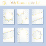Set of intricate white brochure designs Stock Image