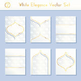 Set of intricate white brochure designs Stock Photo