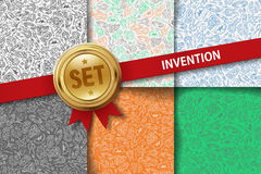 Set of invention backgrounds with doodle icons in Stock Photos