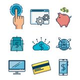 Set of Investment Financial Internet Technology icon. Set of Fintech Investment Financial Internet Technology icon industry vector illustration graphic design Royalty Free Stock Image