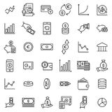 Set of investments thin line icons. High quality pictograms of money. Modern outline style icons collection Stock Images