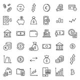 Set of investments thin line icons. High quality pictograms of money. Modern outline style icons collection Royalty Free Stock Image