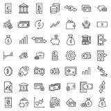 Set of investments thin line icons. High quality pictograms of money. Modern outline style icons collection Stock Photography