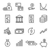 Set of investments thin line icons. High quality pictograms of money. Modern outline style icons collection Stock Photo