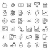 Set of investments thin line icons. High quality pictograms of money. Modern outline style icons collection Stock Image