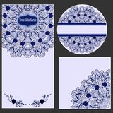 Set of invitation cards with beautiful pattern in the style of Chinese porcelain painting. Royalty Free Stock Photo
