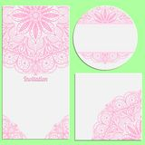Set of invitation cards with beautiful pink lace pattern. Stock Photos