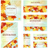Set of Invitation Cards. In Different Size and Formats. Elegant Autumn Design With Maple and Oak Leaves and Acorns Over Sky Background With Beams of Sun. Vector Royalty Free Illustration