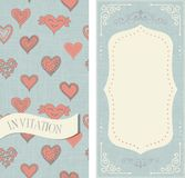 Set of invitation cards with doodle hearts. On vintage colors Royalty Free Stock Photography