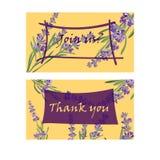 Set invitation cards with flower frame Lavender Stock Photos