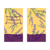 Set invitation cards with flower frame Lavender Stock Photography